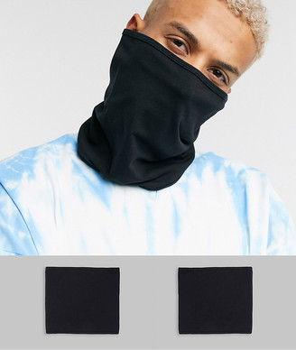 ASOS DESIGN 2 pack organic cotton snood face covering in black jersey