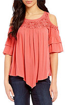 Democracy Scoop Neck Flounce Sleeve Cold-Shoulder Top