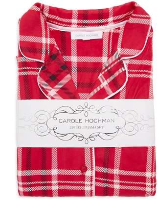Carole Hochman Plaid-Print Velour Fleece Pajama Set