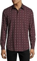 Theory Cross-Box Printed Long-Sleeve Sport Shirt