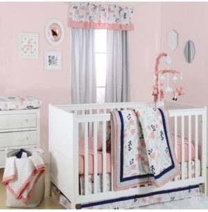 The Peanut Shell The Floral Dot 4-Piece Crib Bedding Set Bedding