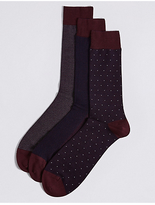 M&s Collection Luxury 3 Pairs of Cotton Rich Assorted Socks