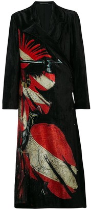 Yohji Yamamoto Graphic Print Double-Breasted Coat