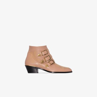 Chloé beige Susanna buckle 30 leather ankle boots