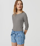 LOFT Chambray Safari Shorts in Light Indigo Wash