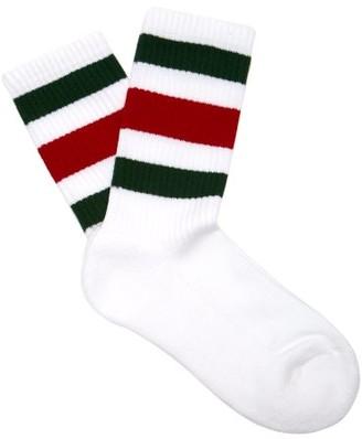 Gucci Web-striped Cotton-blend Socks - Womens - White Multi