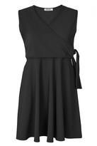 Quiz Curve Black V Neck Wrap Front Dress