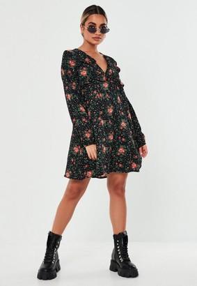 Missguided Black Floral Print Shift Dress