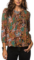 O'Neill Lavinia Floral Printed Smocked Peasant Top
