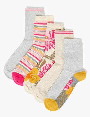 Marks and Spencer 5 Pack Cotton Seamfree Ankle High Socks