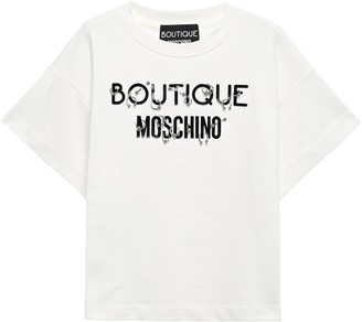 Boutique Moschino Barbell-embellished Printed Cotton-jersey T-shirt