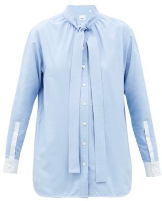 Burberry Yolanda Tie-collar Cotton-poplin Shirt - Light Blue