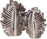 Howard Elliot Nickel Plated Leaf Vases (Set of 2)