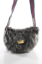 Marc by Marc Jacobs Gray Faux Fur Crossbody Shoulder Handbag Size Small