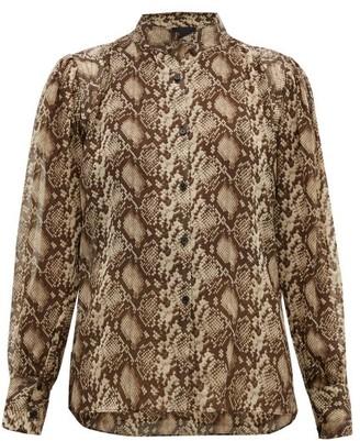 Nili Lotan Lorena Snake-print Silk Blouse - Womens - Brown Multi