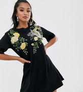 Asos DESIGN Petite embroidered dragon t-shirt dress
