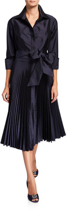 Rickie Freeman For Teri Jon 3/4-Sleeve Pleated Skirt Taffeta Shirtdress w/ Bow