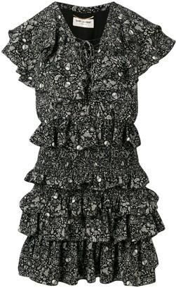 Saint Laurent USA Skull ruffled chiffon dress