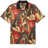 Stussy Camp-Collar Printed Matte-Satin Shirt
