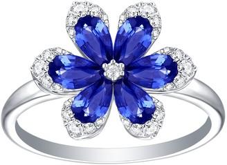 Artisan Blue Sapphire Flower Earring In 18 K White Gold