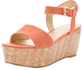 Very Ridge Cork Wedge Sandals In Peach Size UK 6