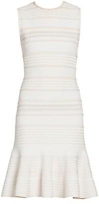 Alexander McQueen Scalloped Knit Sheath Dress