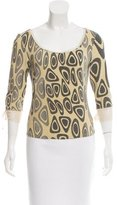Roberto Cavalli Mesh-Trimmed Abstract Print Top