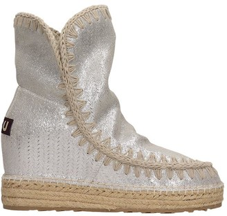 Mou Eskimo Inner Low Heels Ankle Boots In Silver Tech/synthetic