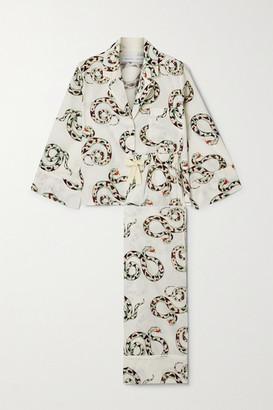 Desmond & Dempsey India Printed Organic Cotton Pajama Set - Cream