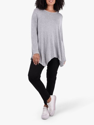Live Unlimited Curve Hanky Hem Jersey Top, Grey