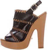 Jerome C. Rousseau Leather Platform Sandals