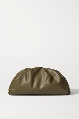Bottega Veneta The Pouch Large Gathered Leather Clutch - Army green