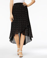 NY Collection Polka-Dot High-Low Midi Skirt