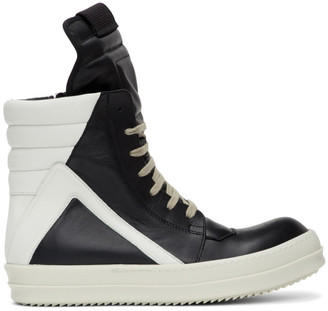 Rick Owens Black and White Geobasket Sneakers