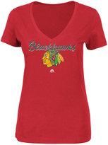 Majestic Women's Chicago Blackhawks Match Penalty Glitter T-Shirt