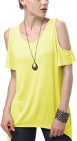 Urban CoCo Women's Vogue Shoulder Off Wide Hem Design Top Shirt (S, )