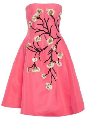 Oscar de la Renta Flared Strapless Embellished Silk-faille Dress