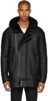 Diesel Black Gold Black Shearling Hooded Jacket
