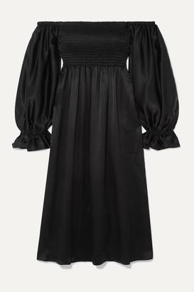 Sleeper - Atlanta Off-the-shoulder Shirred Silk-satin Midi Dress - Black