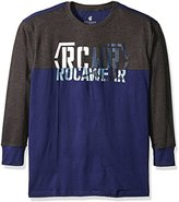 Rocawear Men's Big and Tall Split Level Long Sleeve Crew
