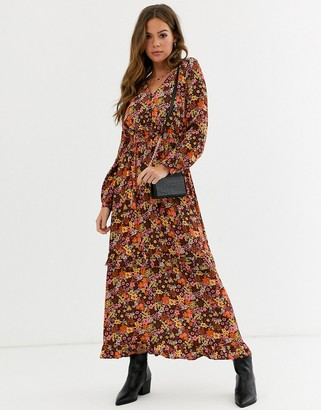 Nobody's Child tiered maxi tea dress in retro floral print-Brown
