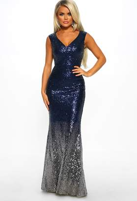Pink Boutique Met Ball Ready Navy Sequin Ombre Maxi Dress