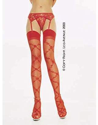Leg Avenue Women's 2-Piece Lace Garter Belt Set with Matching Thong, Red, One Size