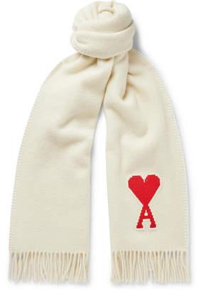 Ami Logo-Appliqued Fringed Virgin Wool Scarf