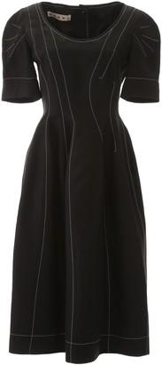 Marni Contrasting Stitches Flared Dress