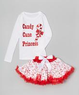 Beary Basics White 'Candy Cane Princess' Tee & Tutu - Infant Toddler & Girls