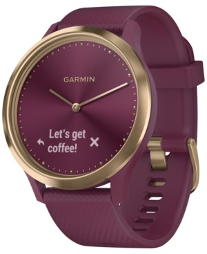 Garmin Unisex vivomove Hr Sport Berry Silicone Strap Hybrid Touchscreen Smart Watch 43mm, Created for Macy's