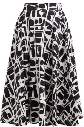 La DoubleJ Circle Abstract-print Cotton-blend Midi Skirt - Womens - Black White