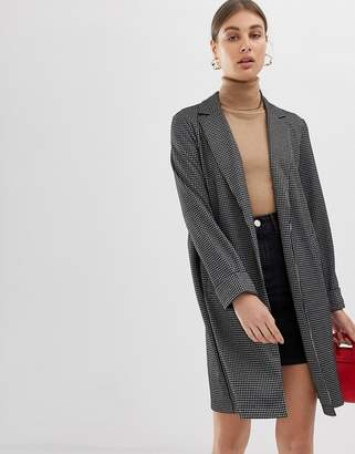 Pieces check lightweight spring coat-Black