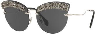 Miu Miu MU 58TS Women's Crystal Embellished Cat's Eye Sunglasses